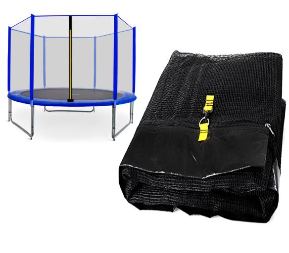 Spartan Siatka do trampoliny 250cm 8ft zewnętrzna na 6 słupków Black net / Blue