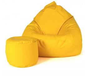 aGa Pufa sofa XXXL + podnóżek (Żółty)