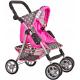 Doris Sportovní kočárek pro panenky 9352 Šedo - Růžový s puntíky