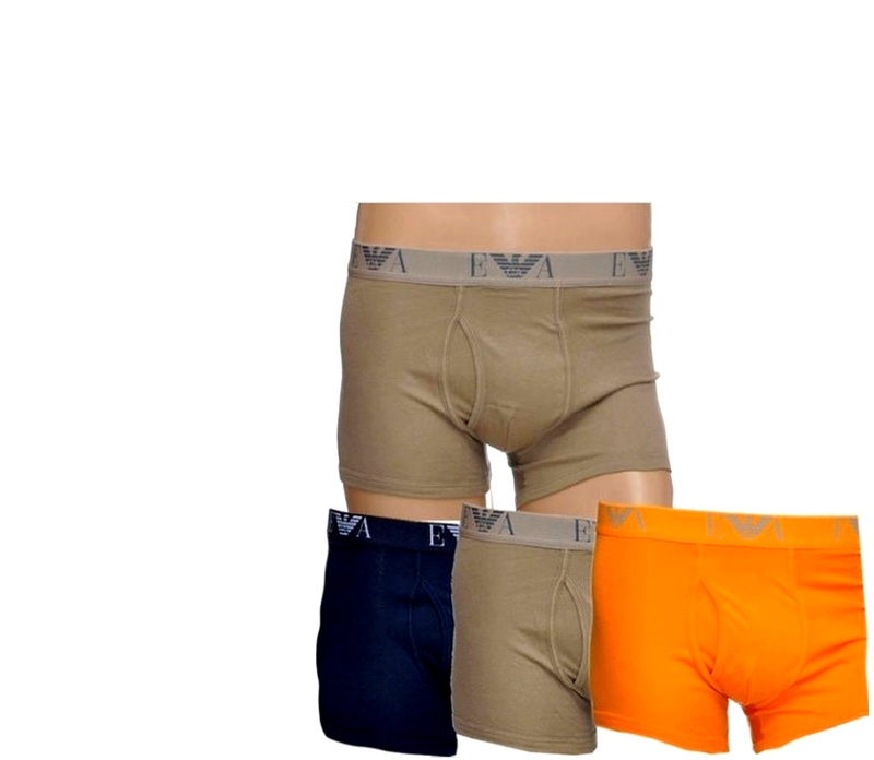 Emporio Armani Boxerky 3-PACK Orange Khaki Navy