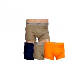 Emporio Armani Boxerky 3-PACK Orange, Khaki, Navy