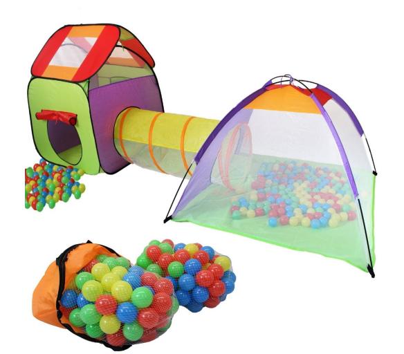 Kiduku Dětský hrací stan s tunelem Green