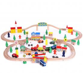 Wooden Toys Drewniana kolejka 100 ELEMENTÓW