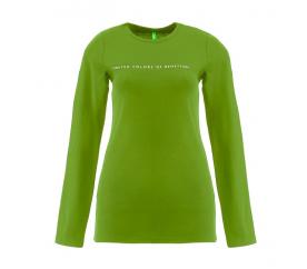 Benetton Dámské tričko s dlouhým rukávem s nápisem United Colors of Benetton Zelená
