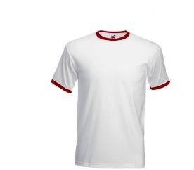 Fruit Of The Loom RINGER White Red férfi póló