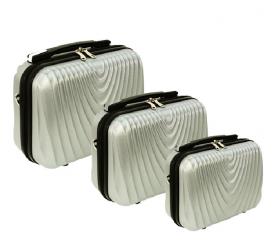 RGL Cestovní kosmetické kufry HC663 XXL,XL,L Silver