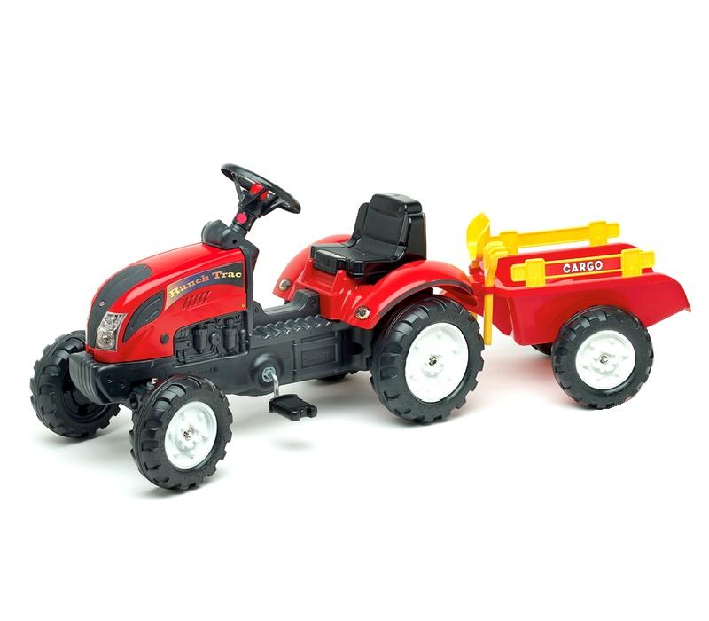 Falk Šlapací traktor RANCH TRAC Red 2051C + vlečka