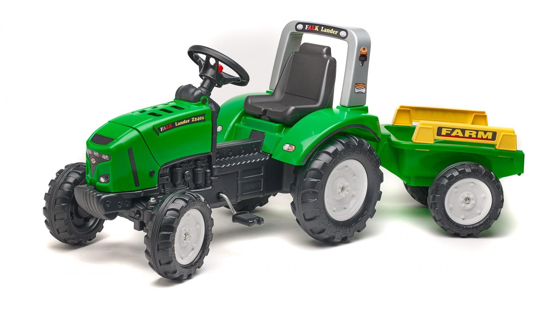 Falk Šlapací traktor FARM LANDER Z240X Green 2021A s vlečkou