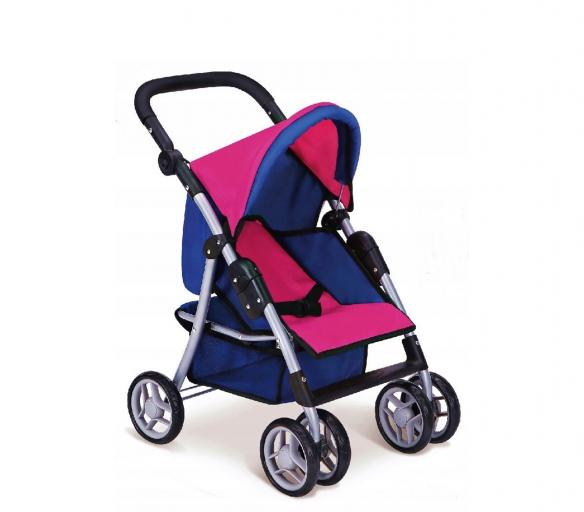 Doris Sportovní kočárek pro panenky 9352 Hot Pink 2 Blue