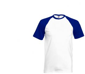 Koszulka Fruit of the Loom BASEBALL White Royal Blue