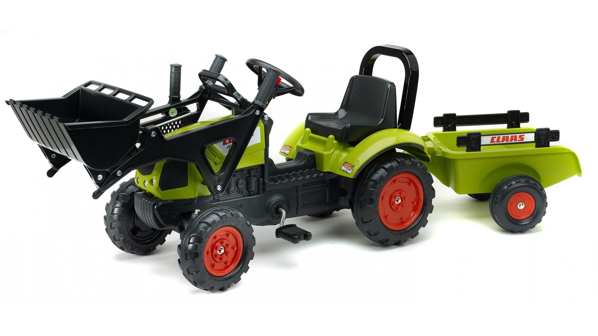 Falk Šlapací traktor CLAAS ARION 410 2040AM s vlečkou a nakladačem