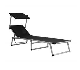 Aga Leżak z daszkiem ogrodowy plażowy GARDEN KING MC372310S Black