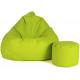 aGa Pufa sofa XXXL + podnóżek (jasno/zielona)