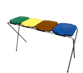Aga hulladékgyűjtő állvány  4x120 l sárga, zöld, kék, piros