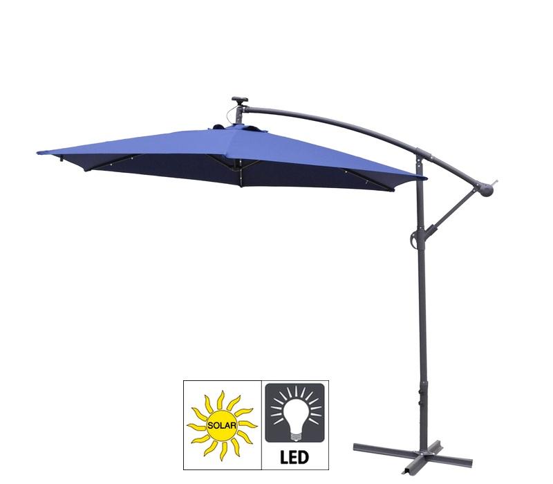 Aga Zahradní slunečník EXCLUSIV LED 300 cm Dark Blue
