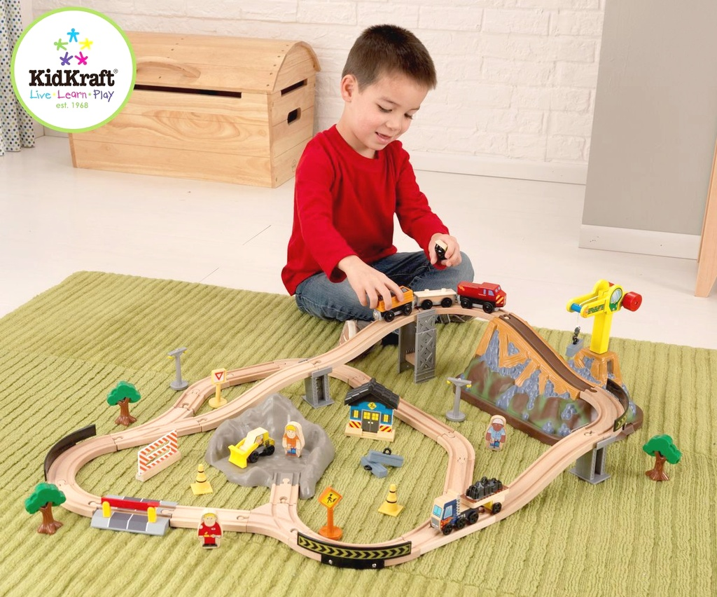 KidKraft Vláčikodráha BUCKET TOP CONTRUCTION TRAIN SET