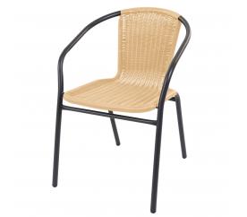 Linder Exclusive Krzesło ogrodowe rattanowe RATAN Dark Grey/Beige