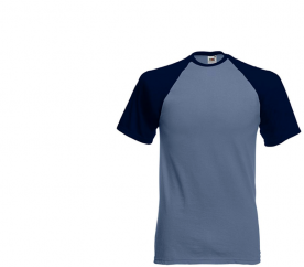 Fruit Of The Loom Tričko BASEBALL Steel Blue Deep Navy