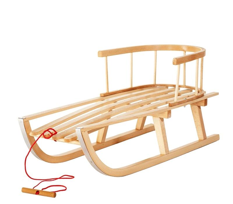 Aga4Kids Dřevěné sáně s opěrkou CLASSIC 90 cm