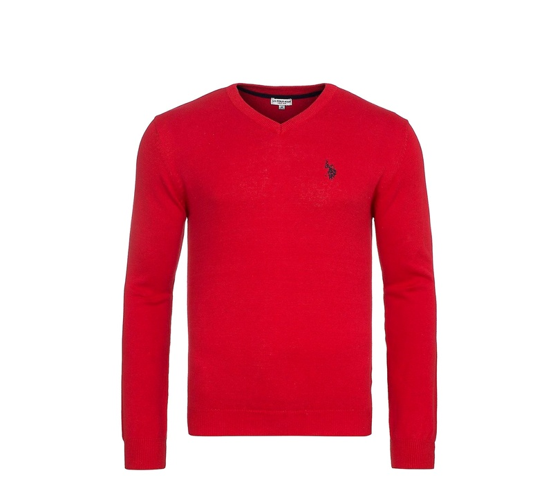 U.S. Polo ASSN. Svetr V-Neck Red