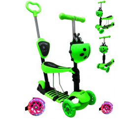R-Sport Dětská třikolová koloběžka 5v1 s LED kolečky JR Zelená