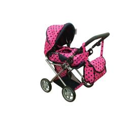 Doris Kočárek pro panenky 9346 Růžový s černými puntíky