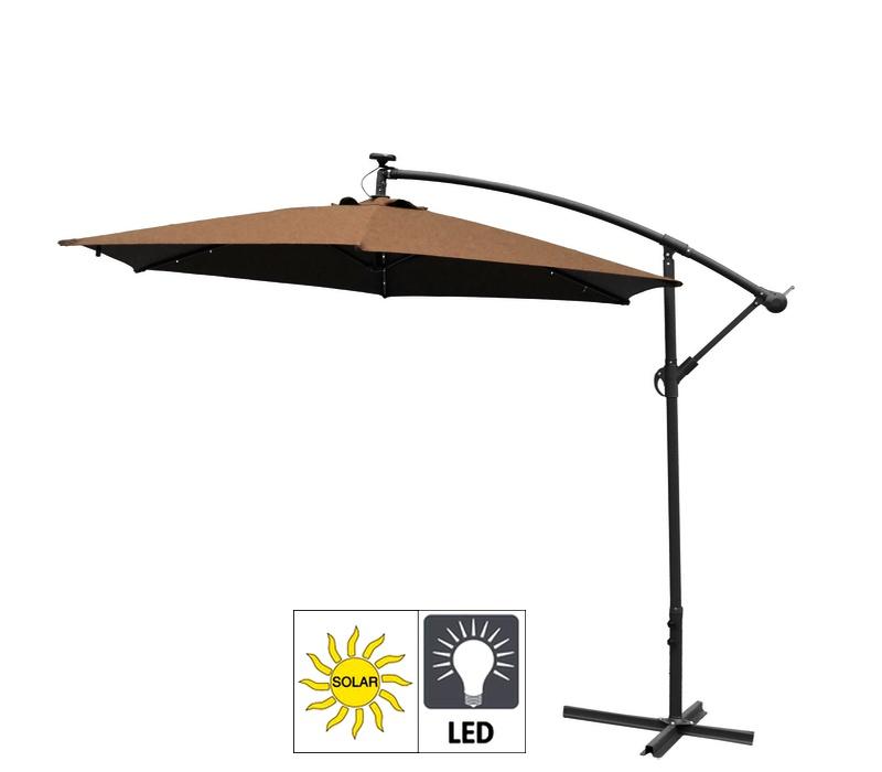 Aga Zahradní slunečník EXCLUSIV LED 300 cm Dark Brown