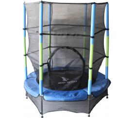 Aga Trampolina dziecięca do pokoju 140 cm Green/Blue + siatka ochronna