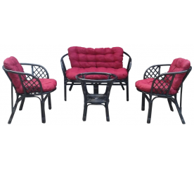 Aga Rattan szett BAHAMA Black Dark Red
