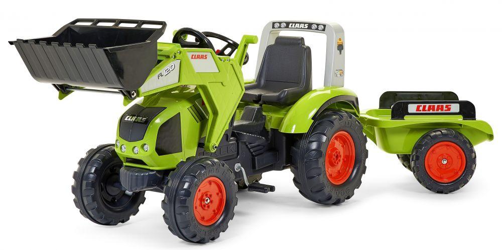 Falk Šlapací traktor CLAAS AXOS 330 1011AM s nakladačem a vlečkou