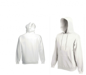 Fruit Of The Loom HOODED SWEAT White pulóver