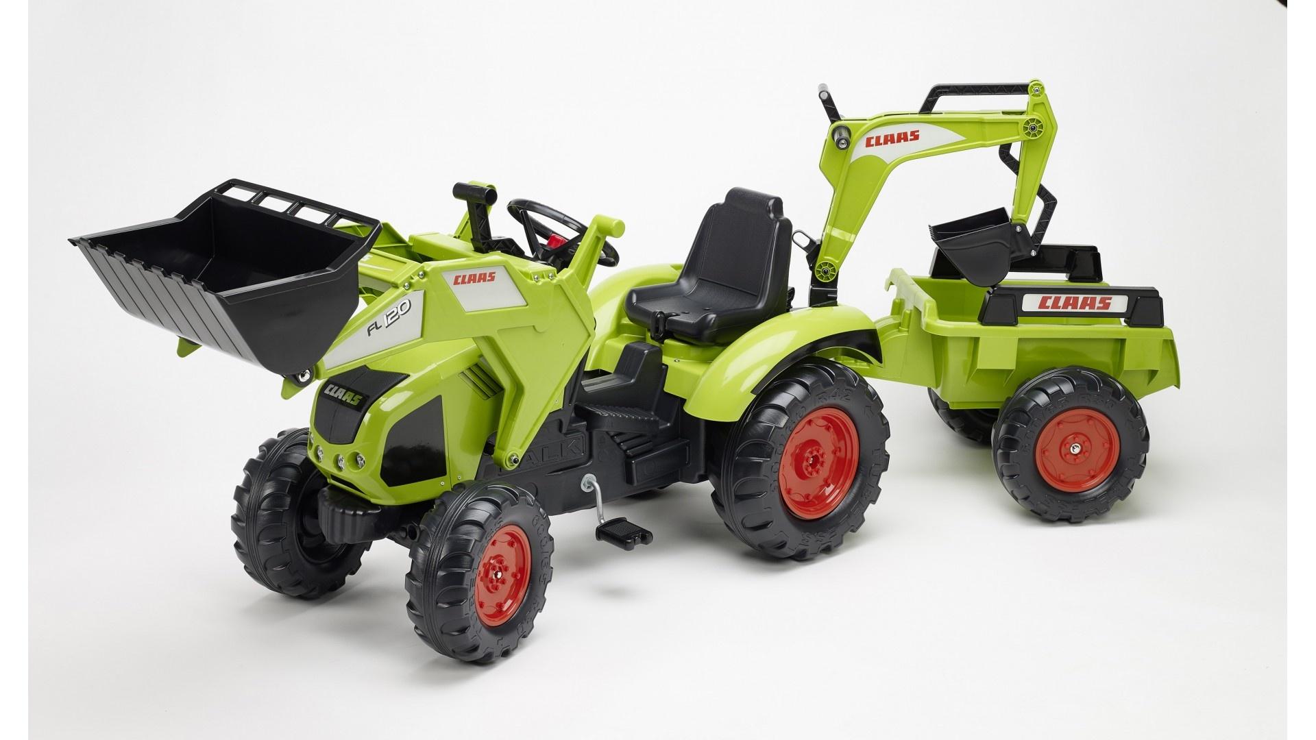 Falk Šlapací traktor CLAAS AXOS 330 1010Y s nakladačem, rypadlem a vlečkou