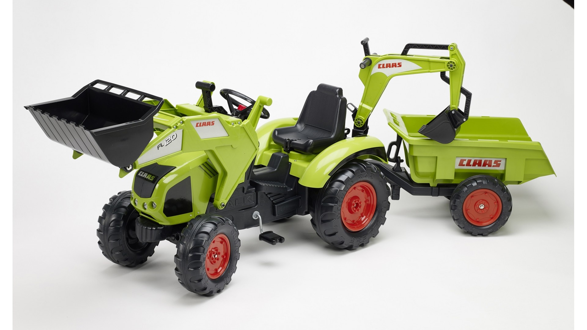 Falk Šlapací traktor CLAAS AXOS 330 WITH FRONT LOADER 1010Z s vlečkou