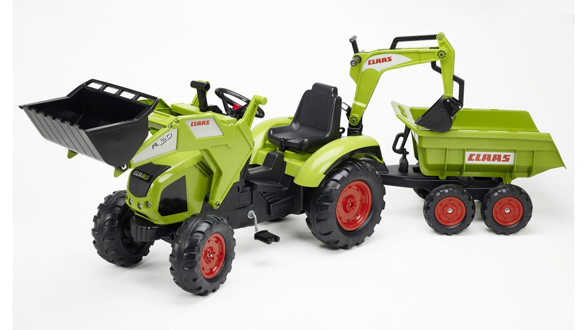 Falk Šlapací traktor CLAAS AXOS 330 1010W  s nakladačem, rypadlem a vlečkou