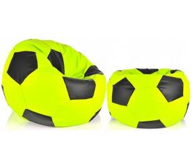 Aga Sedací pytel BALL XXXL Černá - Světle zelená + podnožník