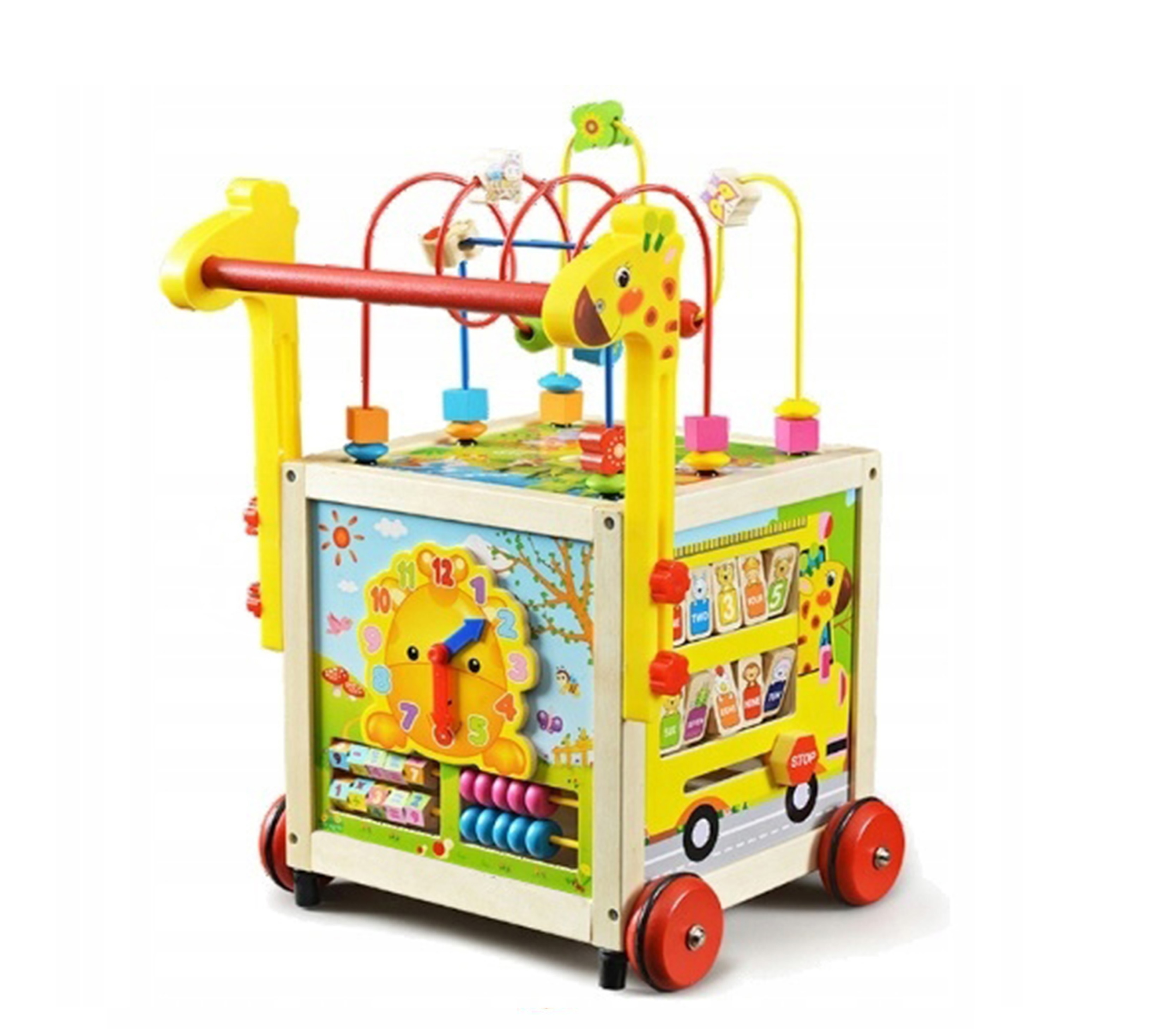 Wooden Toys Drevená edukačná kocka s chodítkom