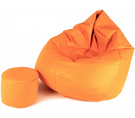 Aga Sedací vak XXXL + podnožník Svetlo oranžový