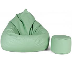 aGa Pufa sofa XXXL + podnóżek (Miętowy)
