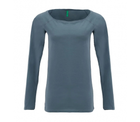 Benetton Dámské tričko s dlouhým rukávem bez potisku Šedá