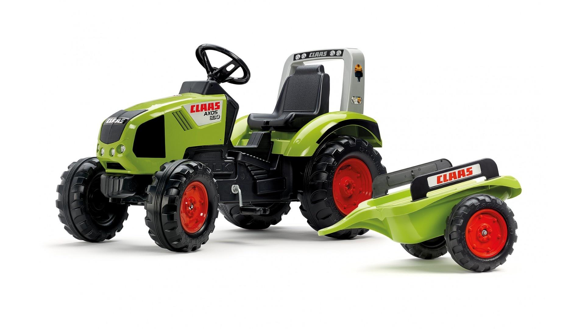 Falk Šlapací traktor CLAAS AXOS 330 1011AB s vlečkou