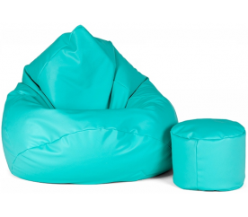 aGa Pufa sofa XXXL + podnóżek (Turkusowy)