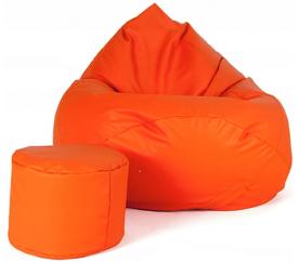 Aga Sedací vak XXXL + podnožník Oranžový