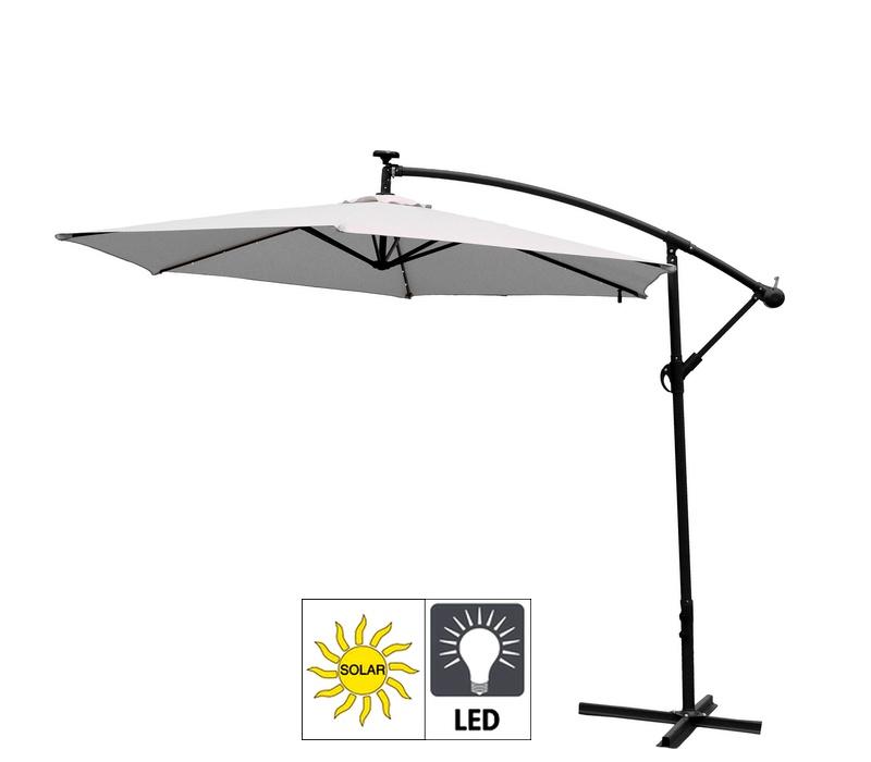 Aga Zahradní slunečník EXCLUSIV LED 300 cm White