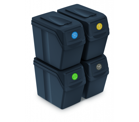 Aga Odpadkové koše SORTIBOX 4x20l Černé
