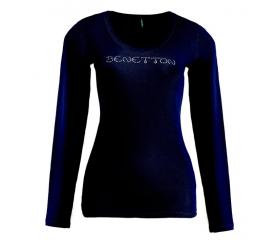 Benetton Dámské tričko s dlouhým rukávem s nápisem z velkých kamínků Tmavě modrá