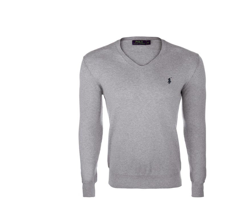 Ralph Lauren Sveter V-NECK SWEATER Grey Melange