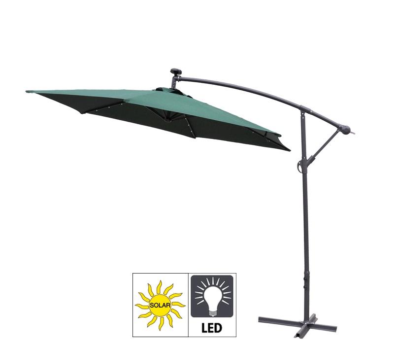 Aga Zahradní slunečník konzolový EXCLUSIV LED 300 cm Dark Green