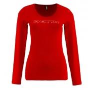 Benetton Női hosszú ujjú póló, nagy kövekkel Piros
