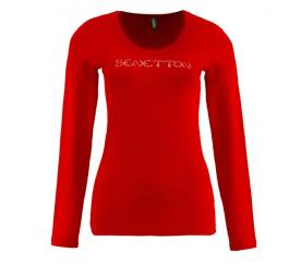 Benetton Dámské tričko s dlouhým rukávem s nápisem z velkých kamínků Červená