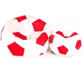 Aga Sedací pytel BALL XXXL Červená - Bílá + podnožník